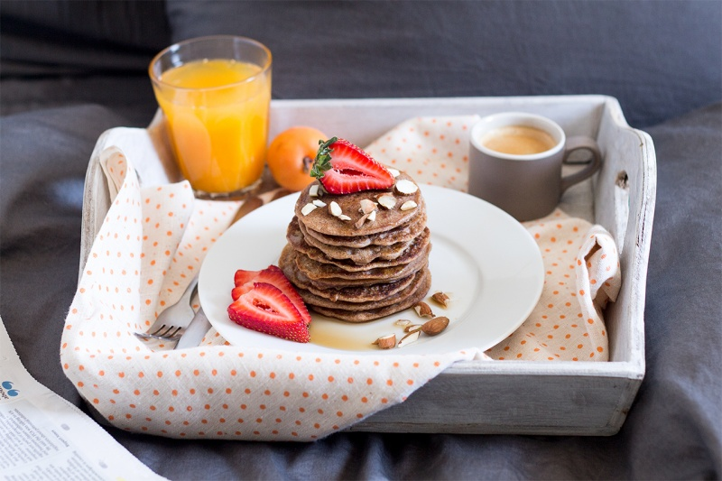 vegan buckwheat pancakes in bed