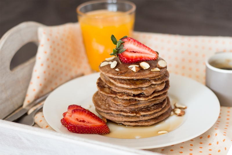 vegan buckwheat pancakes up close